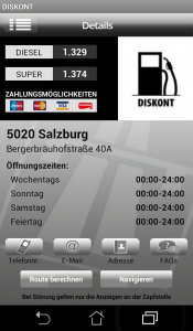 DISKONT Stationsseite, Android Version