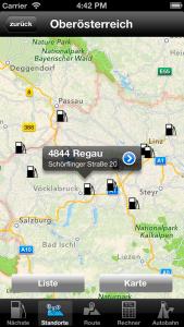 DISKONT Stationsübersicht auf Karte, iOS/iPhone 5 Version